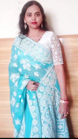 Lucknow Chikankari Work Designer Saree in Blue and White from Bengal Looms India