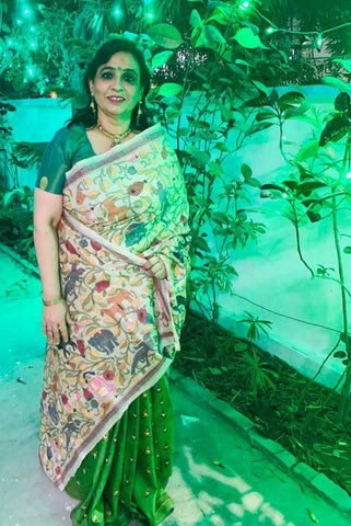 Hand Embroidery Kantha Stitch Saree on Half Tussar Silk and Half Pure Silk from Bengal Looms India