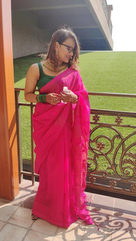 Pure Handloom Khadi Soft Cotton Silk Temple Border Saree in Hot Pink from Bengal Looms India