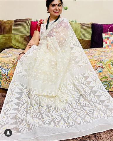 Handwoven Jamdani Saree in Off White and Milk White from Bengal Looms India