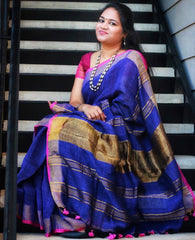 Linen Saree from Bengal Looms India
