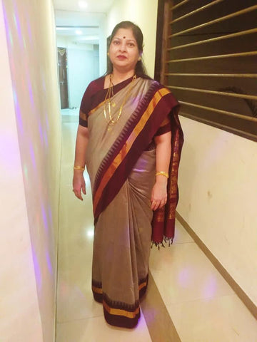 South Cotton Gadwal Saree with Rich Pallu in Dove Grey and Wine color from Bengal Looms India
