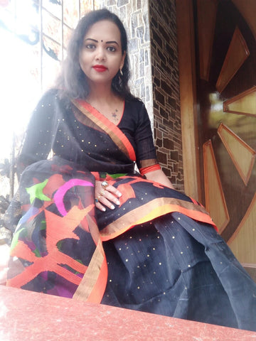 Muslin Jamdani Kart Shade Work Saree with Sequins in Black and Orange from Bengal Looms India