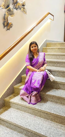 Kantha Stitch Saree in Purple and White from Bengal Looms India