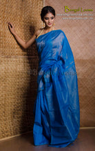 Temple Border Khadi Cotton Silk Saree in Blue and Gold from Bengal Looms India