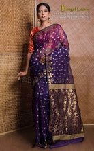 Muslin Jamdani Saree in Blue and Gold from Bengal Looms India
