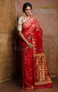 Muslin Jamdani Saree in Red and Gold from Bengal Looms India