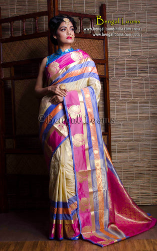 Art Silk Kanchipuram Saree in Off White and Pink from Bengal Looms India