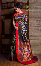 Chanderi Cotton Banarasi Saree in Black and Red from Bengal Looms India