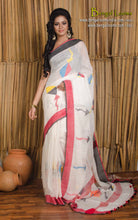 Linen Jamdani Saree in Off White, Black and Red from Bengal Looms India