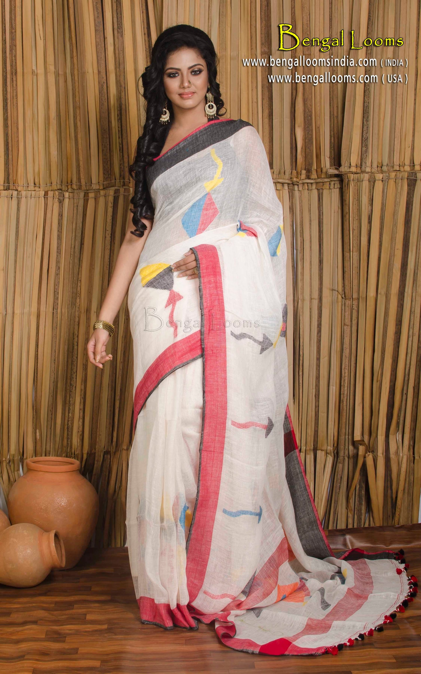 Linen Jamdani Saree in Off White, Black and Red - Bengal Looms India
