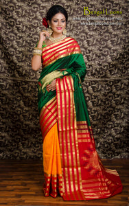 Pure South Silk Saree in Half and Half Design in Bottle Green and Orange from Bengal Looms India