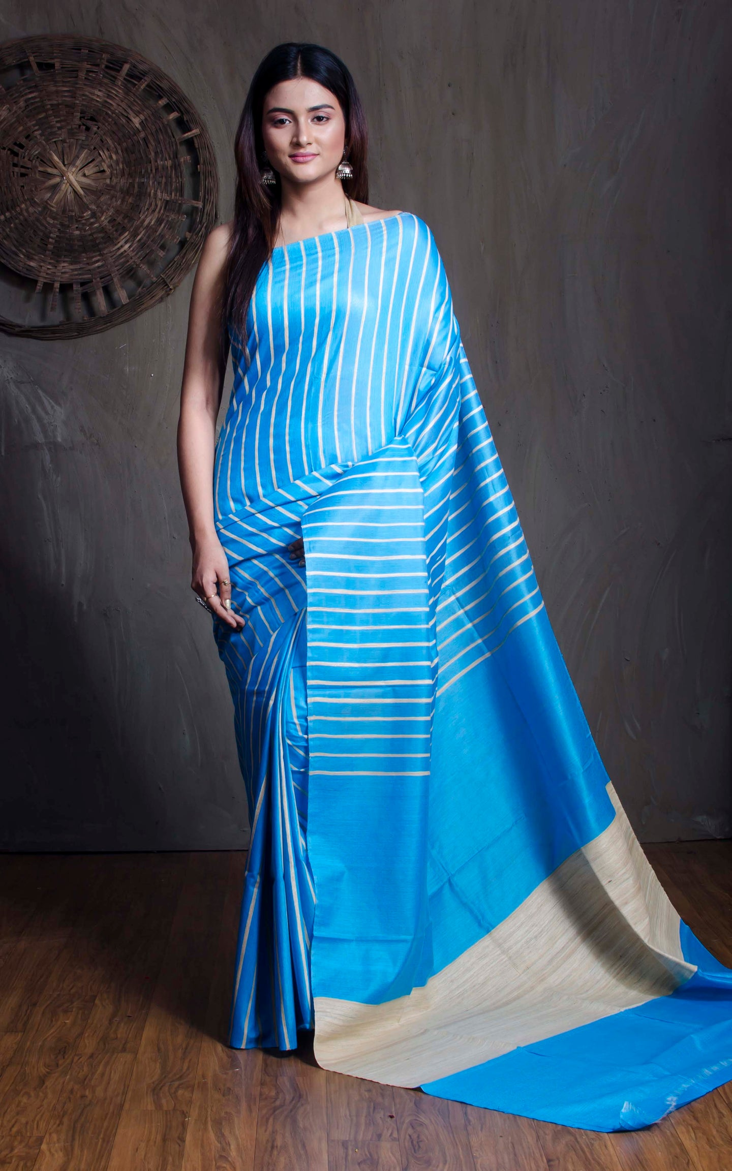 Tussar Silk Saree in Blue and Beige