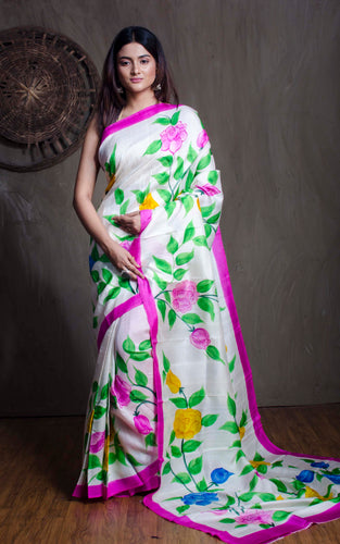 Floral Printed Pure Silk Saree in Off White and Magenta - Bengal Looms India