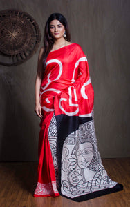 Printed Pure Silk Saree in Red and Black from Bengal Looms India