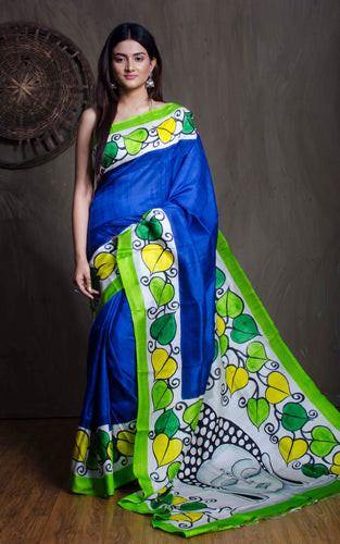 Printed Pure Silk Saree in Blue and Green from Bengal Looms India