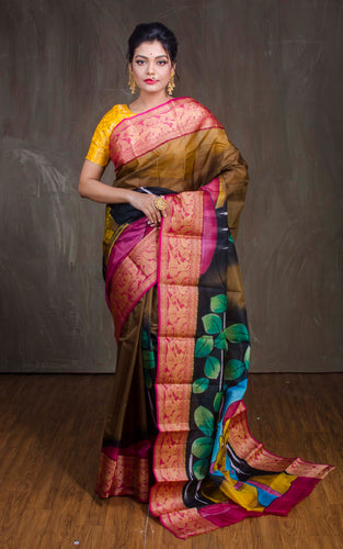 Printed Pure Silk Saree in Brown from Bengal Looms India