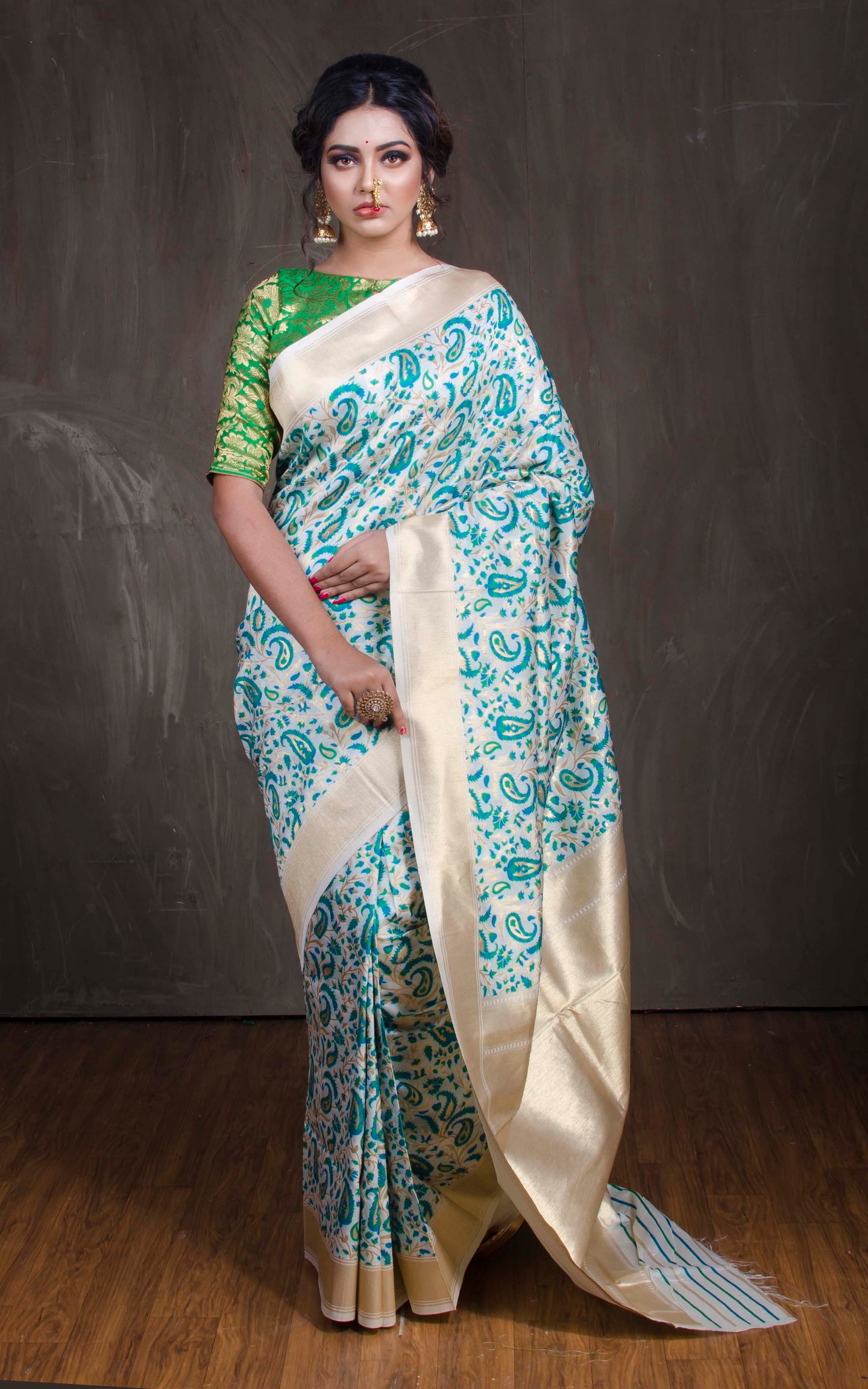 Semi Katan Silk Banarasi Saree in Off White, Blue and Gold from Bengal Looms India