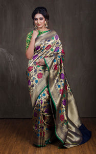 Semi Katan Silk Jaal Work Banarasi Saree in Navy Blue and Antique Gold from Bengal Looms India