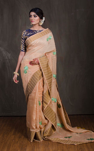 Embroidery Work Art Muga Saree in Beige and Green