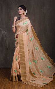 Embroidery Work Art Muga Saree in Beige and Green from Bengal Looms India
