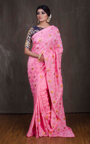 Embroidery Work Chinnon Silk Saree in Pink from Bengal Looms India