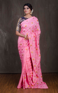 Embroidery Work Chinnon Silk Saree in Pink