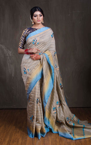Semi Tussar Embroidery Work Saree in Grey and Blue from Bengal Looms India