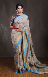 Semi Tussar Embroidery Work Saree in Grey and Blue