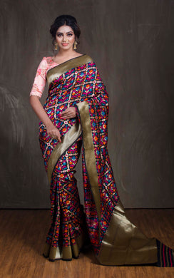 Art Silk Patola Banarasi Saree in Black from Bengal Looms India