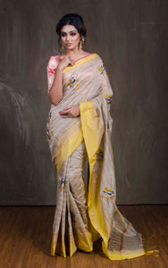 Embroidery Work Semi Tussar Saree in Beige and Yellow from Bengal Looms India
