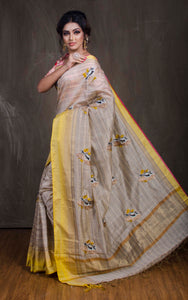 Embroidery Work Semi Tussar Saree in Beige and Yellow - Bengal Looms India
