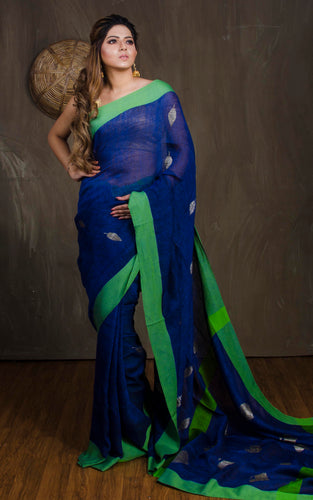 Pure Handloom Linen Saree in Royal Blue and Green from Bengal Looms India