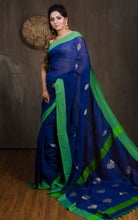Linen Saree in Royal Blue and Green