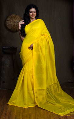 Pure Handloom Khadi Cotton Silk Saree with Gold Temple Border in Bright Yellow - Bengal Looms India