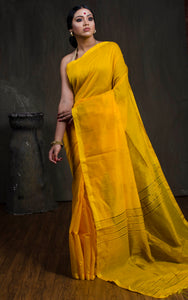 Handloom Khadi Cotton Silk Saree with Temple Border in Yellow - Bengal Looms India