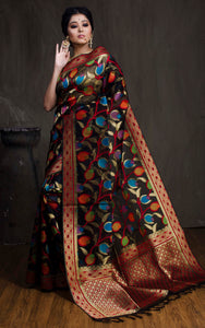 Kora Silk Banarasi Saree in Black, Red and Gold - Bengal Looms India