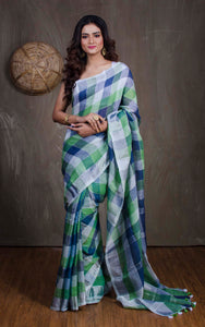 Linen Checks Saree in Off White, Green and Blue from Bengal Looms India