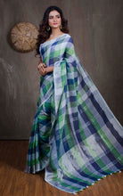 Linen Checks Saree in Off White, Green and Blue - Bengal Looms India