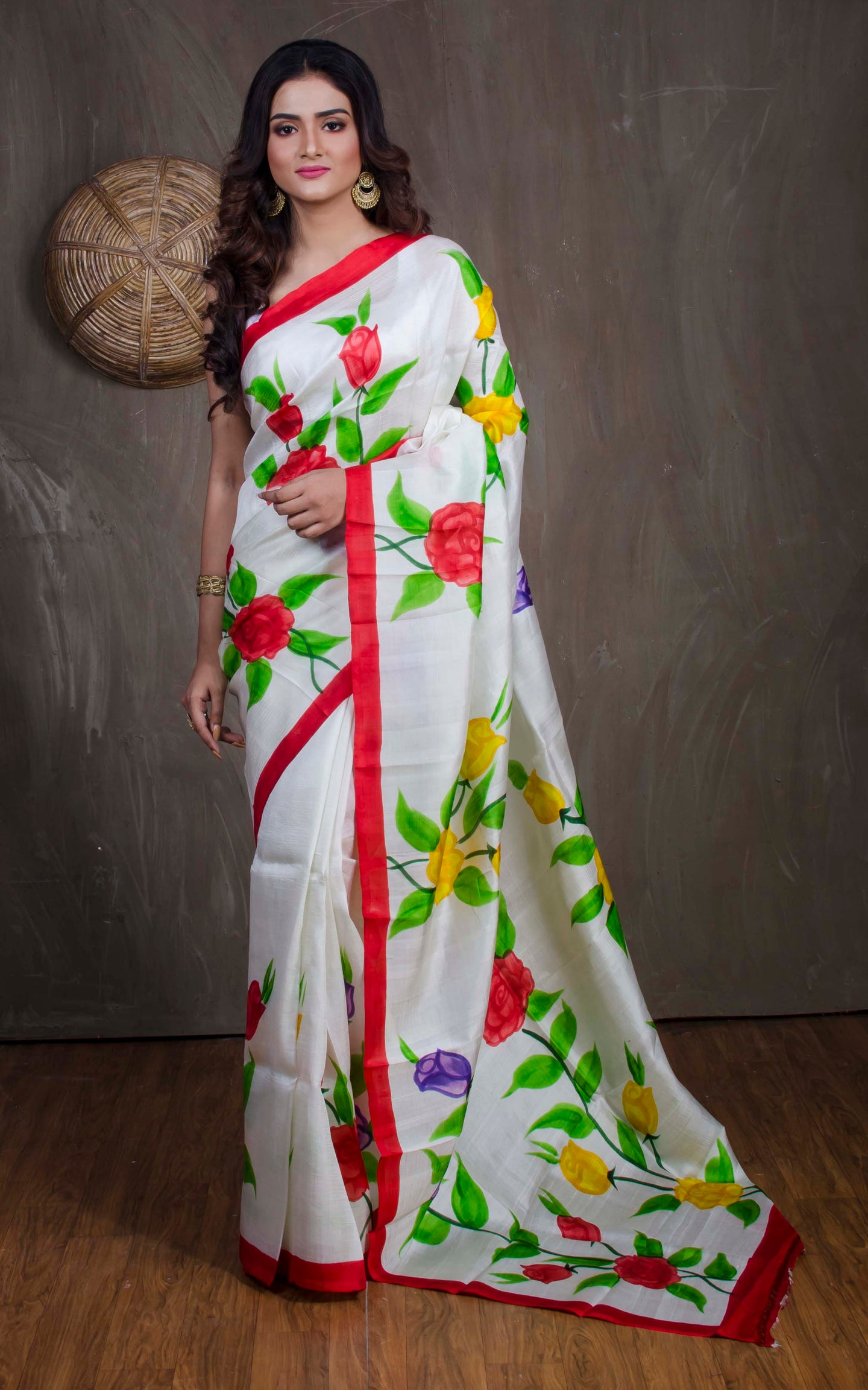 Printed Pure Silk Saree in Off White and Red from Bengal Looms India