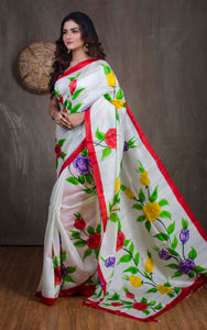 Printed Pure Silk Saree in Off White and Red - Bengal Looms India