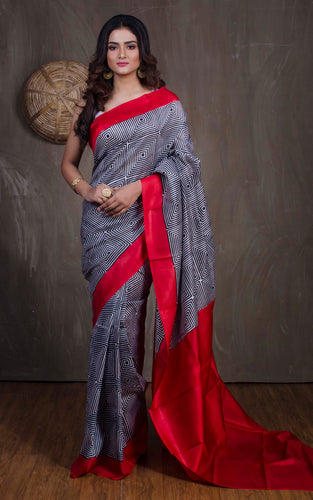 Printed Pure Silk Saree in Black and Red from Bengal Looms India