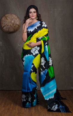 Printed Bishnupur Silk Saree in Black, Blue and Green - Bengal Looms India
