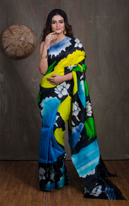 Printed Bishnupur Silk Saree in Black, Blue and Green