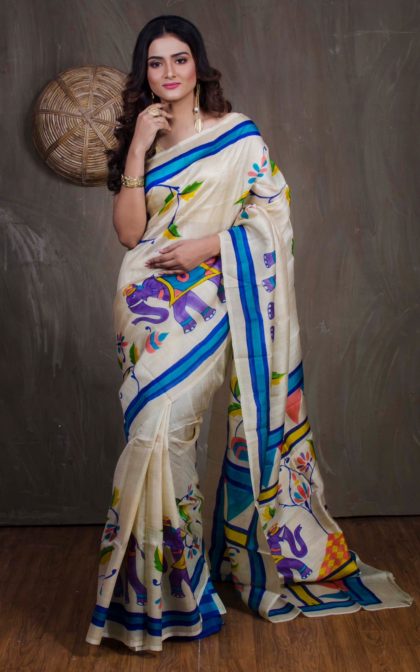 Printed Pure Silk Saree in Off White from Bengal Looms India