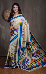 Printed Pure Silk Saree in Off White - Bengal Looms India
