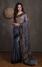 Soft Dhakai Jamdani Saree in Grey and Black from Bengal Looms India