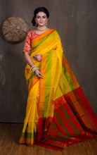 Pochampally Silk Saree in yellow and Red from Bengal Looms India