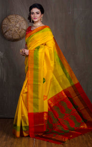 Pochampally Silk Saree in yellow and Red - Bengal Looms India