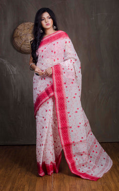 Bengal Handloom Cotton Saree with Embroidery Work in White and Red - Bengal Looms India